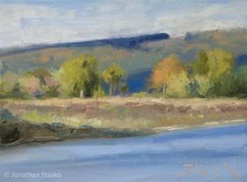 Along the Bank, oil on panel, 6x8
