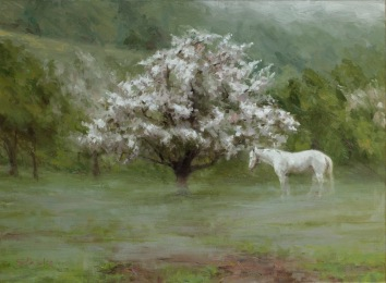 Apple Blossom In the Pasture, oil on linen, 18x24, SOLD