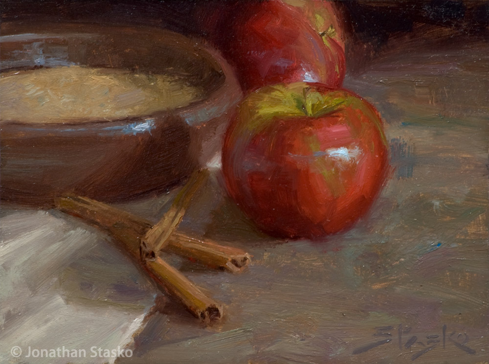 Apples and Cinnamon, oil on panel, 6x8, SOLD
