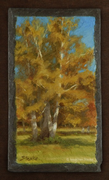 Autumn Yellows, oil on slate, 12x6, SOLD