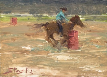 Barrel Racing, oil on panel, 6x8, SOLD