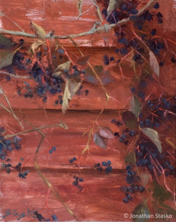 Barn Berries, oil on panel, 10x8, SOLD