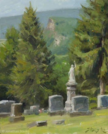 Cemetery View, oil on panel, 10x8