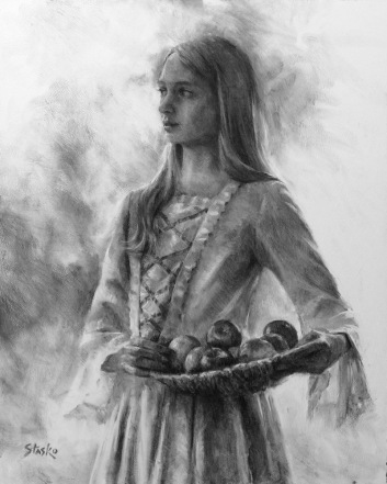 Abigail With Apples, charcoal on panel, 20x16, SOLD