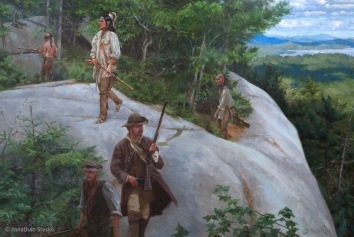 Guarding the Northern Gateway: American Patrol Over Lake Champlain, June, 1777, oil on linen