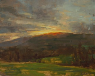 He's Alive: Easter Sunrise 2011 (Plein Air), oil on panel, 8x10