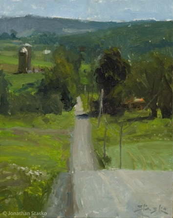 Hill Road, oil on panel, 10x8