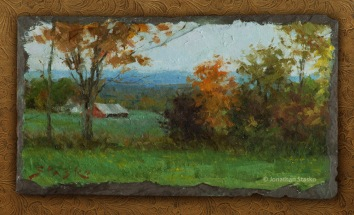 October Afternoon, oil on slate, 6x12, SOLD