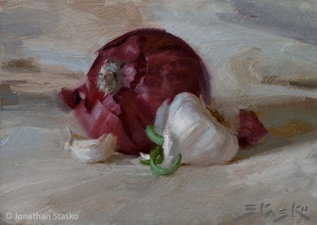 Red Onion and Garlic, oil on panel, 5x7, SOLD