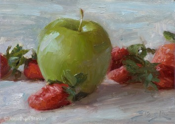 Strawberries and Granny Smith, oil on panel, 6x8