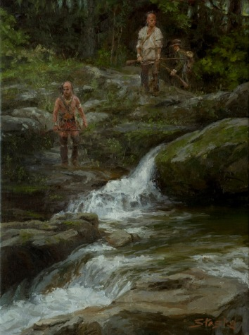 We Circled Back and Crossed Downstream, oil on linen, 24x18