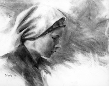 Weathered Grace, charcoal on panel, 14x18, SOLD