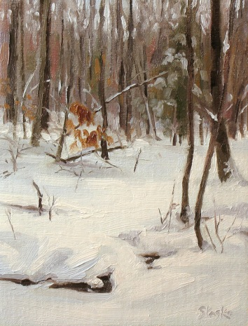 Winter Stream, oil on linen, 8x6