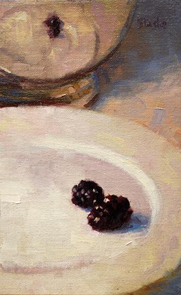 Blackberries, oil on linen, 6.5x4, SOLD
