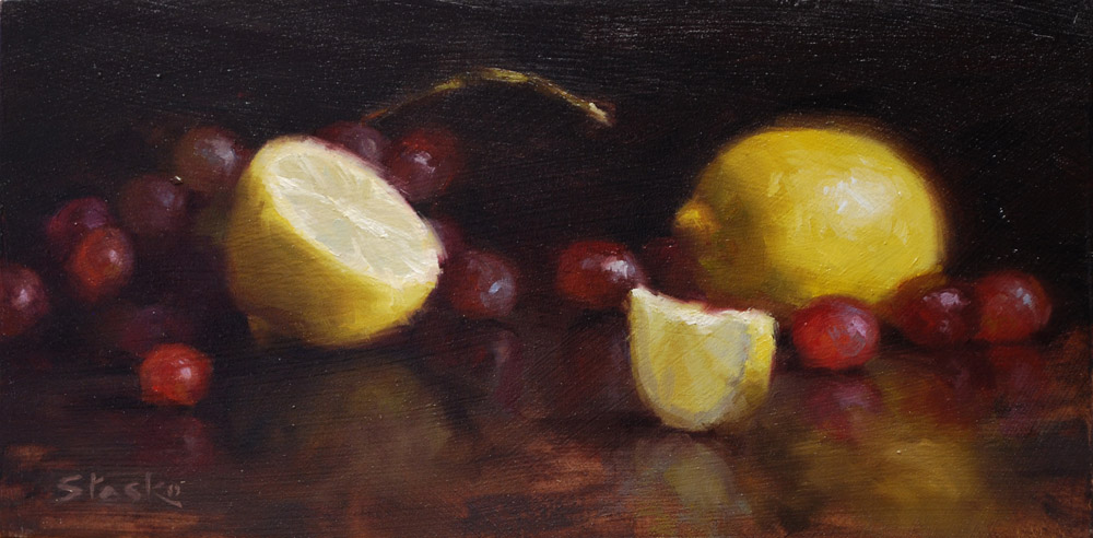 Grapes and Lemons, oil on panel, 6x12, SOLD