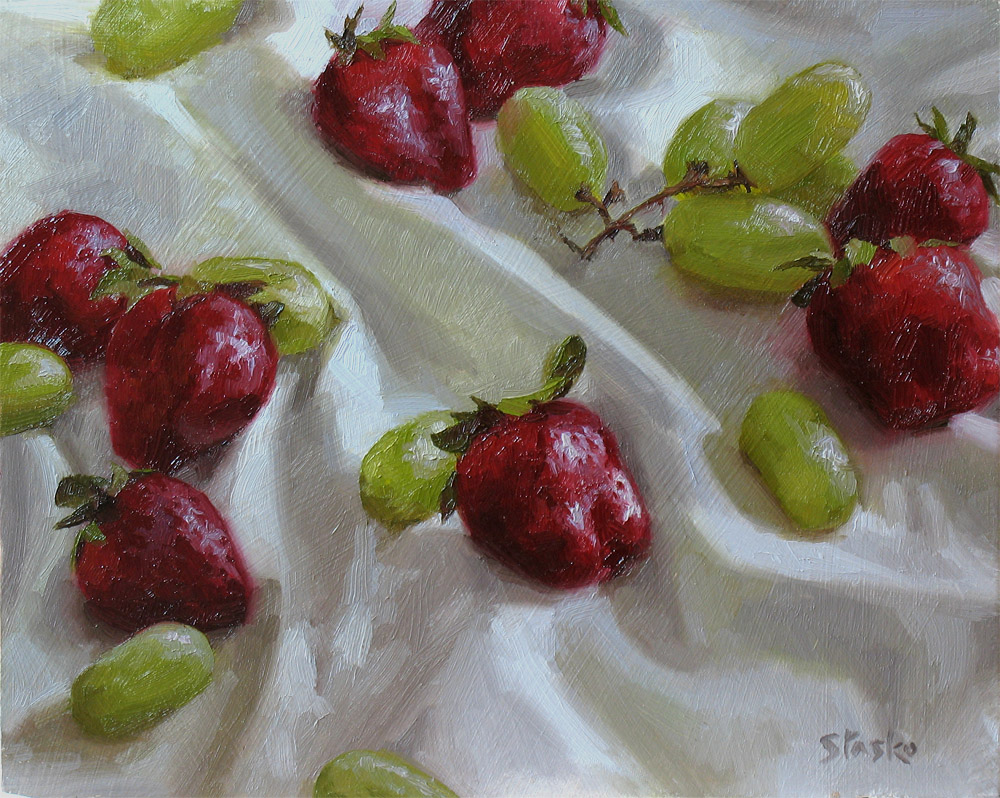 Grapes and Strawberries, oil on panel, 8x10, SOLD
