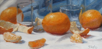 Oranges, oil on panel, 6x12, SOLD