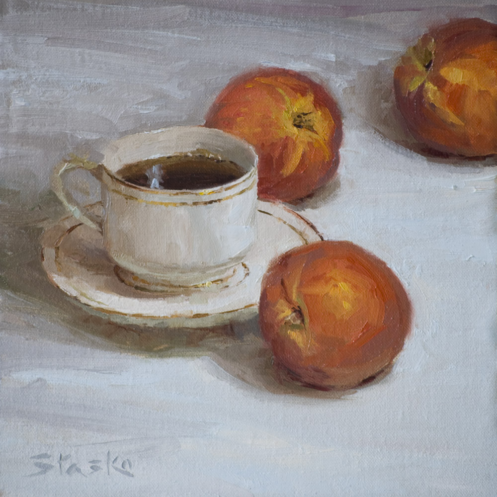 Peach Tea, oil on linen, 8x8, SOLD