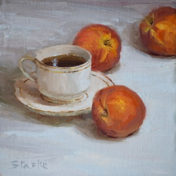 Peach Tea, oil on linen, 8x8