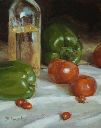 Peppers and Tomatoes, oil on linen, 10x8