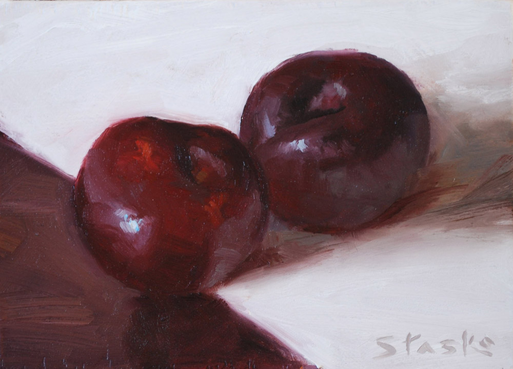 Plums, oil on panel, 5x7