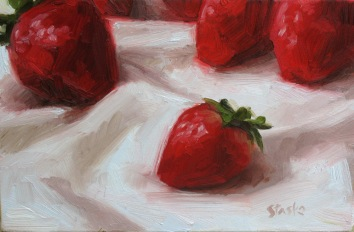 Strawberries, oil on panel, 4x6, SOLD