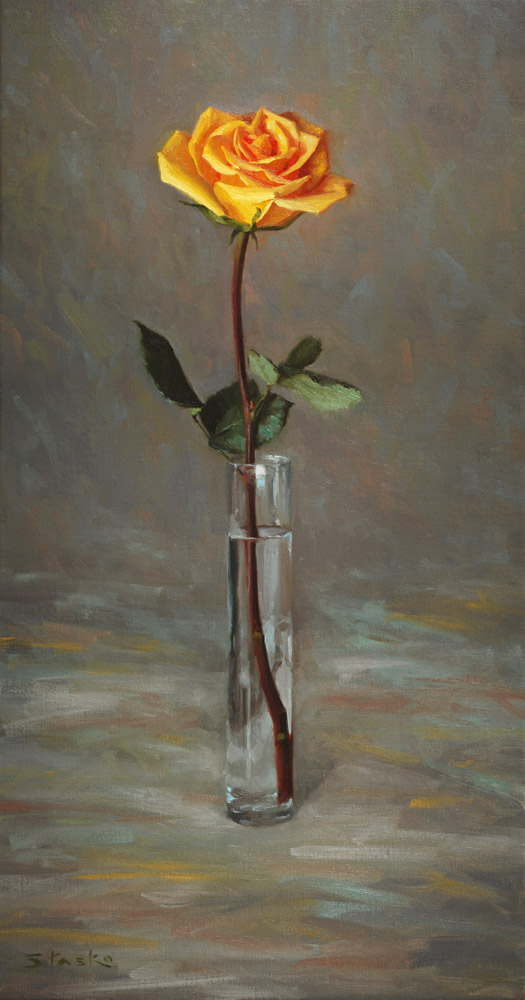 Yellow Rose, oil on linen, 30x18