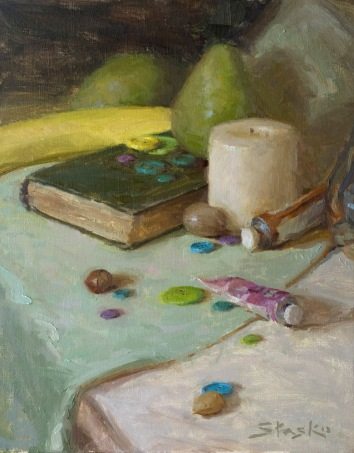 Book and Buttons, oil on linen, 14x11