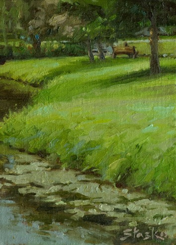 Congress Park, oil on linen, 8x6