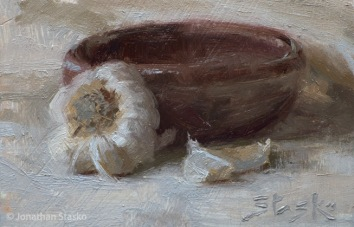 Garlic, oil on panel, 4x6, SOLD