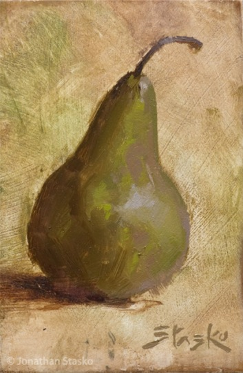 Pear, oil on panel, 6x4, SOLD